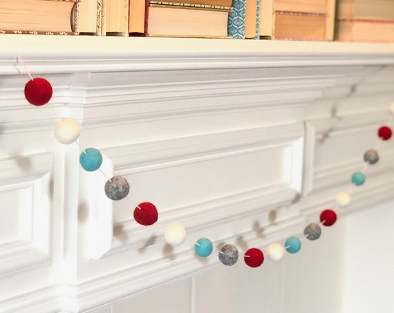 Festive Wool Felt Ball Garland