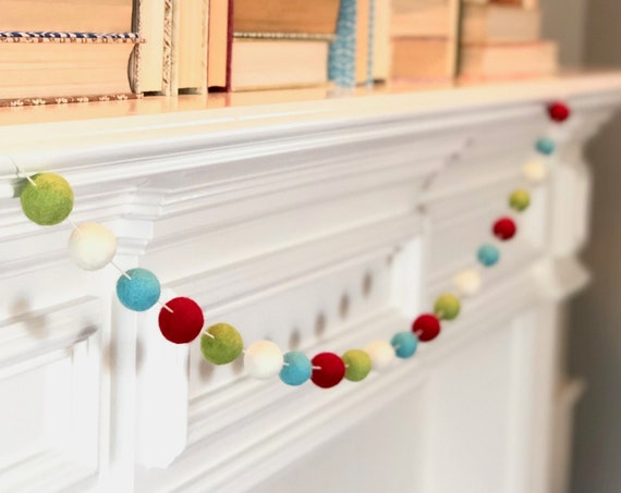 Merry Wool Felt Ball Garland