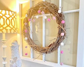 Blushing Wool Felt Ball Garland Fireplace Mantle Farmhouse Decoration Shades of Pink Bunting Modern Boho Holiday Decor