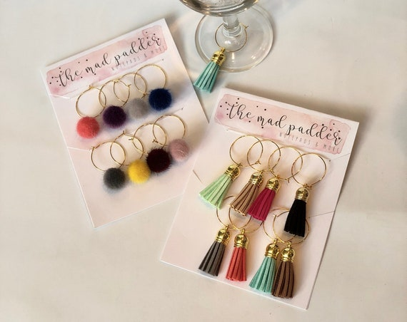 Set of 8 Faux Leather Tassel, Rose, or Pom Pom Wine Charms