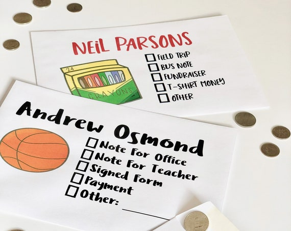 School Days Money or Note Envelopes Set - Personalized To Carry Things To School - Note To Teacher
