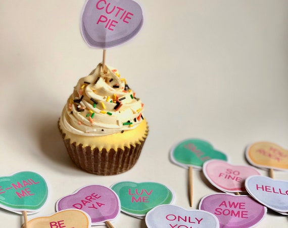 Valentine Conversation Heart Cupcake Picks