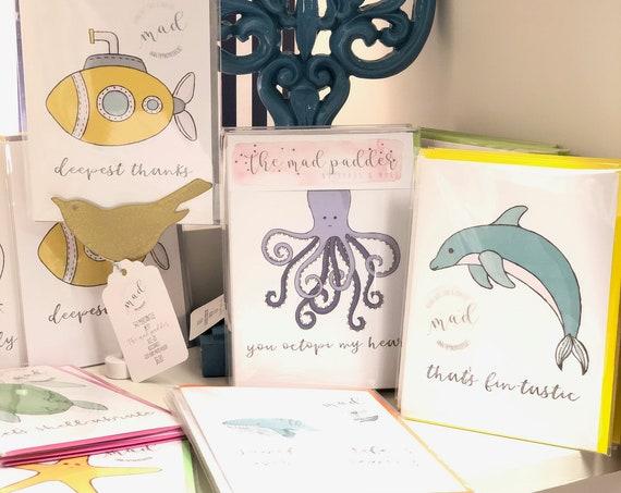 Seas The Day Pun Fun Greeting Cards Set