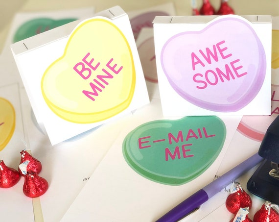Valentine Conversation Hearts Fold-And-Staple Cards & Candy Bags Kit