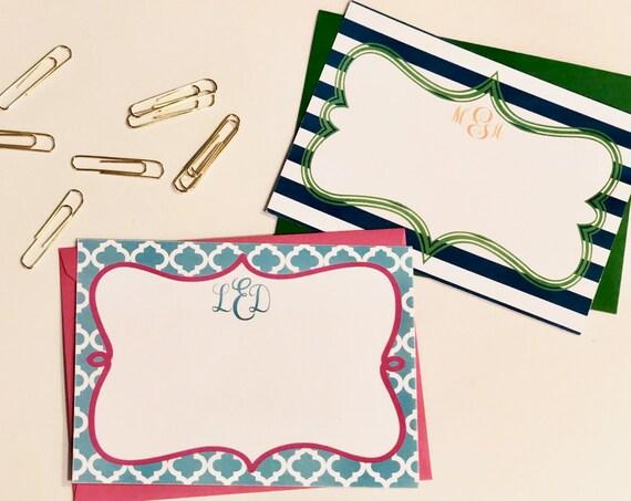 Monogram Flat Note Cards Set