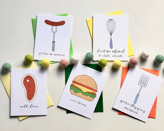 What's Cooking? Pun Fun Greeting Card Set