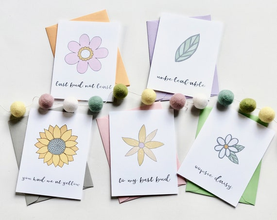 Once and Floral Pun Fun Greeting Card Set