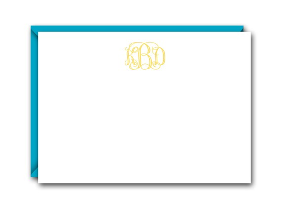 Vine Monogram Flat Note Cards Set