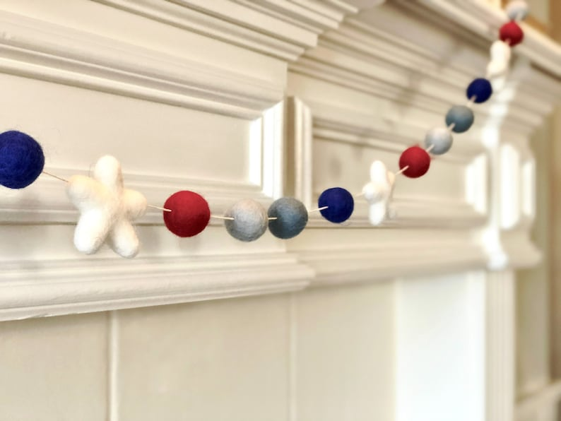 Patriotic Wool Felt Ball Garland Modern Boho Holiday Decor 4th of July Colors Fireplace Mantle Independence Day Decoration