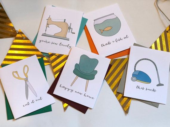 On The House Punny Greeting Cards Set