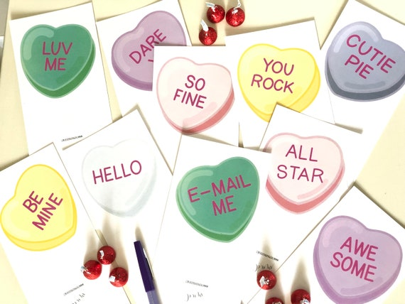 Valentine Conversation Hearts Fold-And-Staple Cards Digital Kit