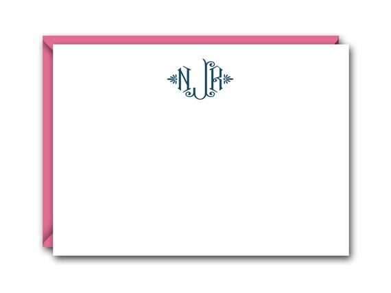 Diamond Monogram Flat Note Cards Set