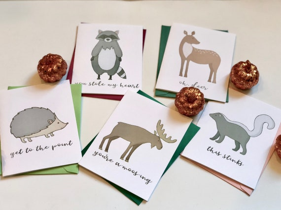 Fawny Wildlife Pun Fun Greeting Cards Set