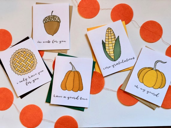 Gourd-geous Punny Fall Greeting Card Set