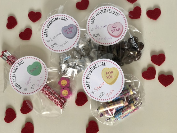 Valentine Conversation Hearts Gift Tags & Bags