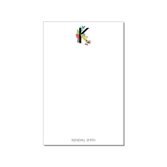Floral Monogram Large Notepad