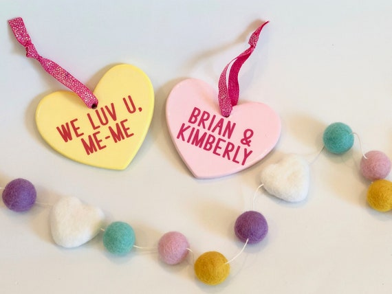 Conversation Heart Personalized Ornament