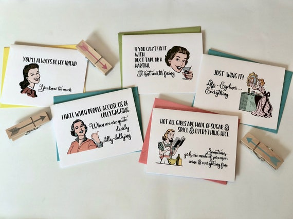 Witty Women That Will Always Be Your Friend Greeting Cards Set