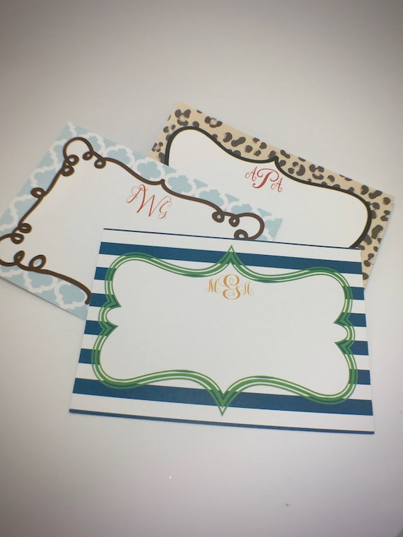 Monogram Flat Note Cards Set