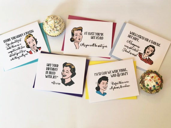 Witty Women Wishing You Happiness Greeting Cards Set