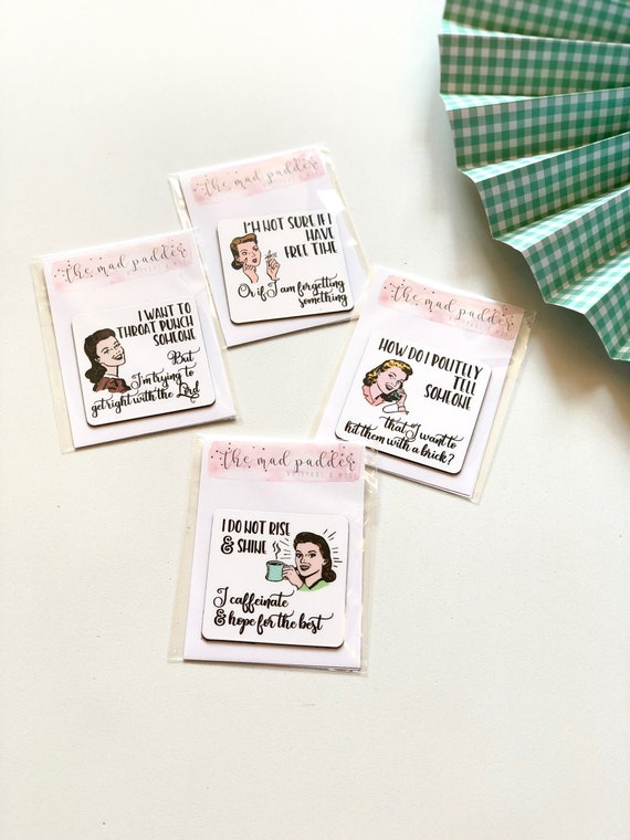 Witty Women Wishing You Happiness Greeting Cards Set Funny Coworker Gift Card For Friends Retro Housewife Humor Vintage Charm