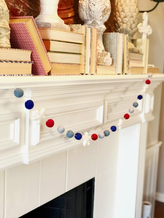 Patriotic Wool Felt Ball Garland
