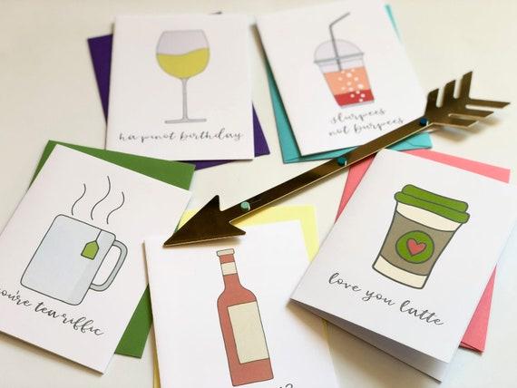 Coffee, Tea, & Wine, Oh My! Greeting Card Set