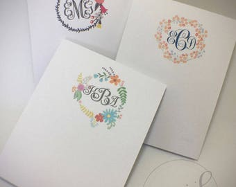 Monogram Floral Wreath Small Notepads Set