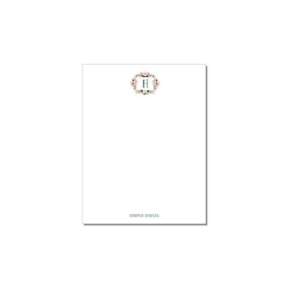 Monogram Floral Wreath Notepad Set