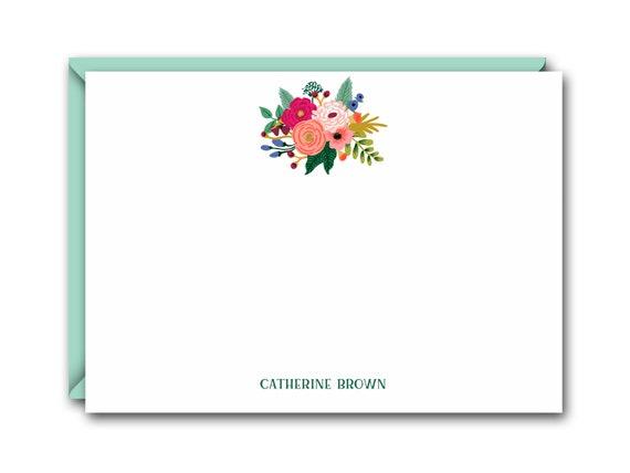 Floral Flat Note Cards Set