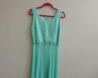 Vintage Sea Foam Green 1960s Accordion Sheer long gown Dress