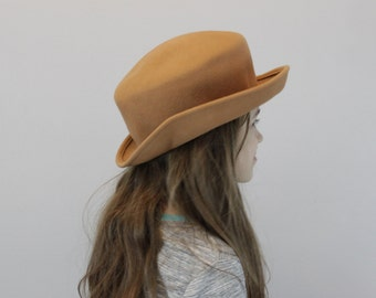 98a80abb600 Vintage Wool Camel Mad Hatter hat by Amanda Smith