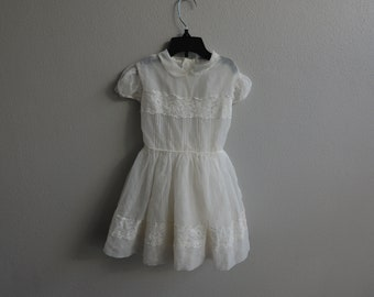 Vintage infant Baby girls Sheer White lace trimmed Dress by Cinderella