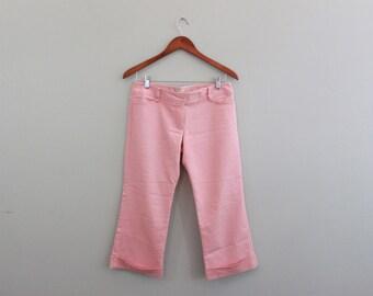 Vintage 90s Wide-leg Pink Capri Pant by Nanette Lepore