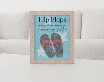 The Flip Flop Design Prints; Blue 8 x 10 10 x 12 Art print 12 x 18 11 x 14 16 x 20 inches; Beach art Whimsical Colorful Designs
