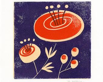 Runacula. 3-color lino block print