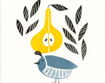 Partridge and Pear Tree Christmas card
