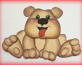 bulldog puppy dog kids best friend premade paper piecing 3d die cut by my tear bears kira