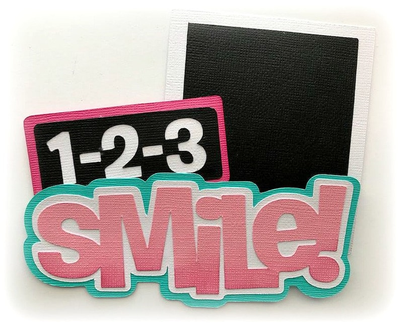 Die Cut 1-2-3 smile title  premade paper piecing 3d die cut image 0