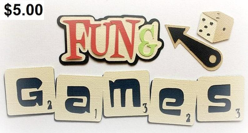 Die Cut Fun and games  title premade paper piecing 3d die cut image 0