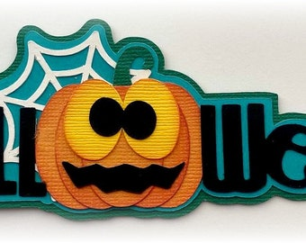 Scrapbook die cut Halloween title pumpkin premade paper piecing for cards, planner, project life by my tear bears kira