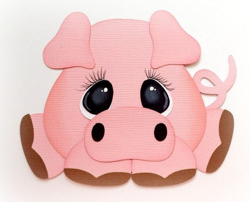 Die Cut Adorable little chubby pig animal premade paper image 0