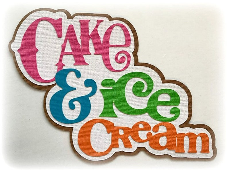 Die Cut Cake and ice cream birthday title premade paper image 0