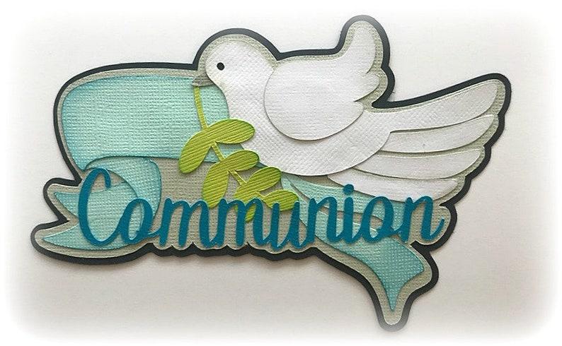 Die Cut Communion boy colors title  premade paper piecing 3d image 0
