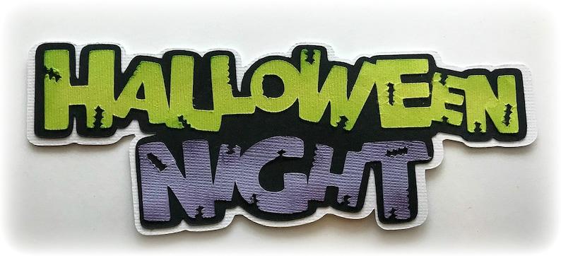 Die Cut Halloween Night around title premade paper piecing 3d image 0