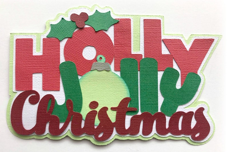 Die Cut Holly Jolly Christmas title  christmas premade paper image 0
