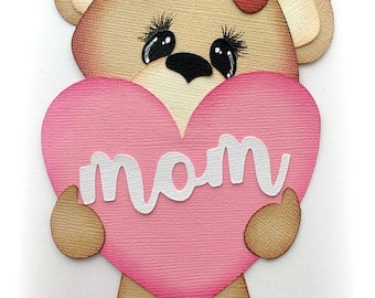 baby bear holding heart for mom mother's day premade paper piecing scrapbooking embellishment by My tear bears by Kira