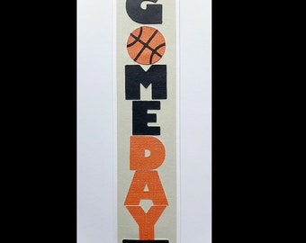 Scrapbook slimline title Die Cut vertical Game Day Basketball, A premade paper piecing for scrapbook layouts by my tear bears kira