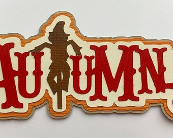 Scrapbook Die Cut title Autumn, A premade paper piecing layered for scrapbook layouts and more by my tear bears kira
