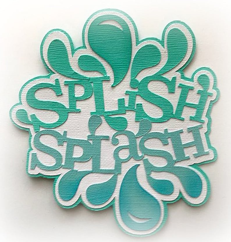 Die Cut splish splash title premade paper piecing 3d die cut image 0